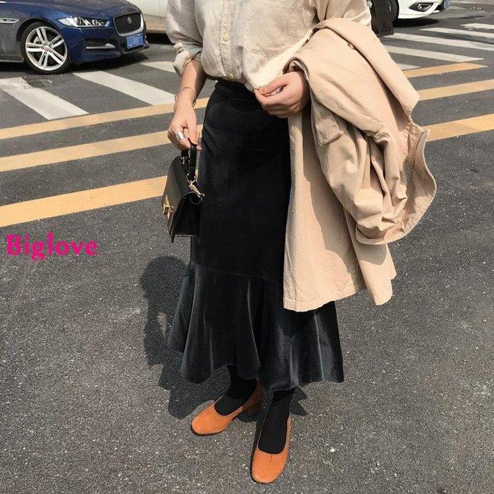Biglove 韓國小眾復古搭配絲絨包臀裙高腰魚尾半身裙中裙女