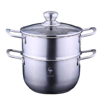 廚房用品304不銹鋼三層複底湯鍋蒸鍋電磁爐蒸湯鍋具套裝鍋D237