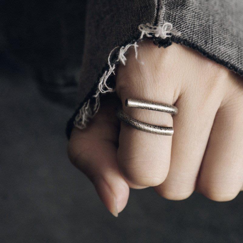 YouDo wh 簡約幾何復古做舊銀飾戒指潮個性百搭街頭嘻哈中性指環男女銀戒指