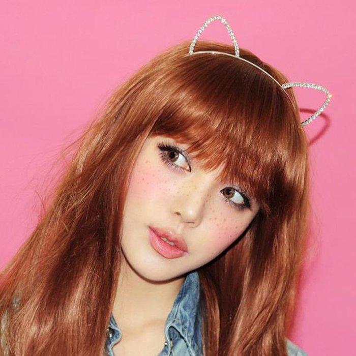 質感水鑽 貓耳朵 髮箍 鑲鑽髮飾 超萌 頭箍 兔耳朵 閃亮 造型髮飾 卡通 耳朵頭箍