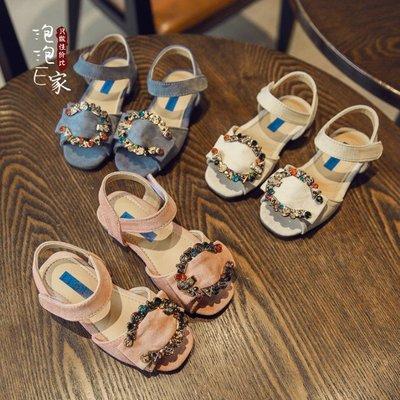夏季新款鋯石環露趾防滑軟底公主鞋寶寶大童女童涼鞋兒童鞋子