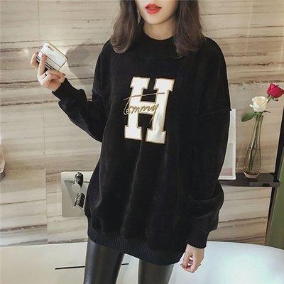 ~Linda~大碼加絨衛衣女 中長款 冬季新款韓版寬鬆字母打底裙潮