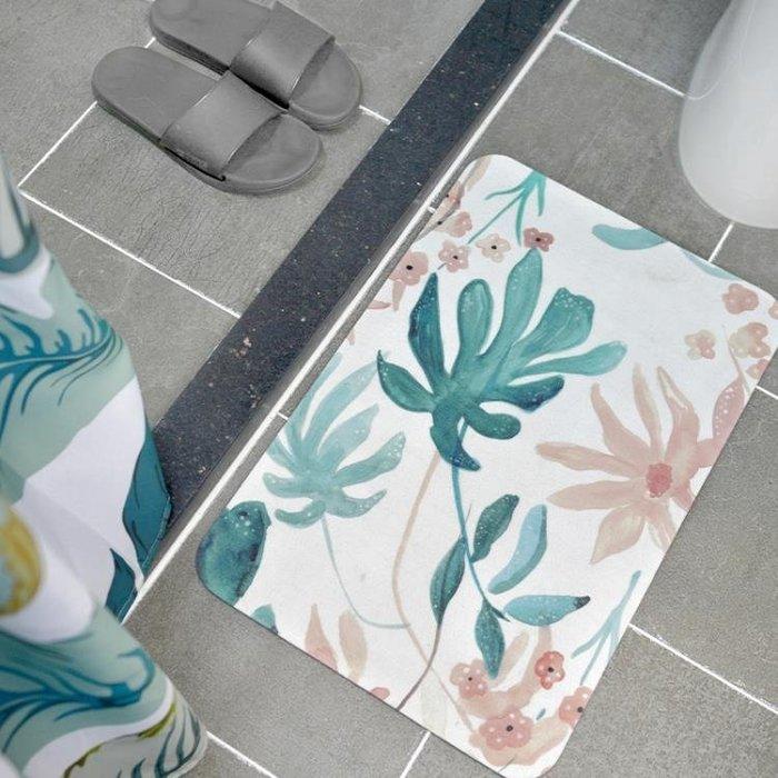 『哲原雜貨』植物家用廚房地墊腳墊入戶進門墊衛生間衛浴吸水防滑墊/CK5998