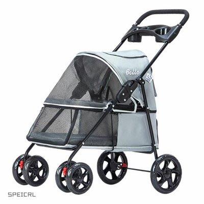 寵物推車Folding pet cart dog and cat four-wheel household supplies-