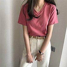 Maisobo 韓 春夏 簡單乾燥玫瑰粉V領短袖tee 7色 Q-188 預購