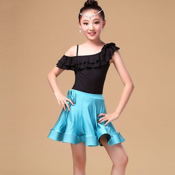 5Cgo【鴿樓】會員有優惠 527669149132 兒童拉丁舞服裝女童演出服套裝荷葉斜領舞台比賽服練習服 拉丁舞衣