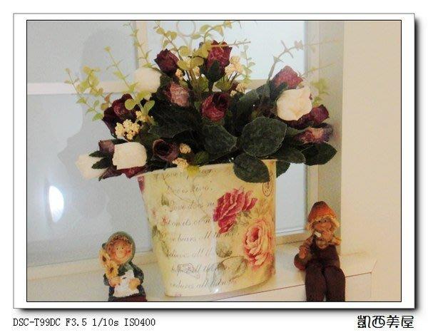 凱西美屋 英式鄉村玫瑰鐵制花器&鄉村油畫小玫瑰仿真花36朵