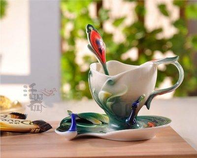 5Cgo【鴿樓】會員有優惠 20461679062 琺琅瓷孔雀咖啡杯 骨瓷高檔杯具 結婚 景泰藍 正中雀懷送禮佳品