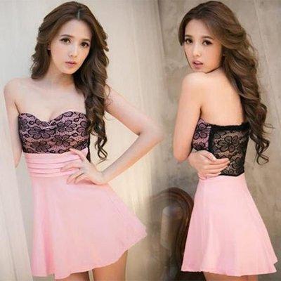 現貨 洋裝 小禮服  新款韓版氣質夜店性感蕾絲抹胸連身裙裹胸超短裙 602-814
