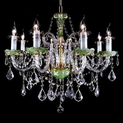 埃及奧地利水晶管綠碟楓葉牛角水晶燈E14-8燈(琥珀色)TA95063