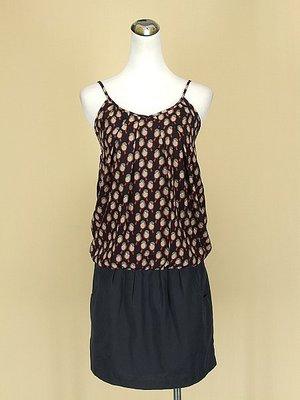 貞新二手衣 salad 專櫃 小鳥圖紋V領細肩帶雪紡紗緞面洋裝S號(42615)