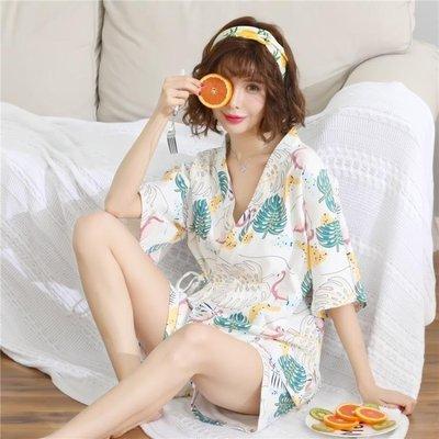 哆啦本鋪 睡衣女夏短袖兩件套裝棉質清新學生溫馨和服可外穿寬鬆大碼家居服 D655