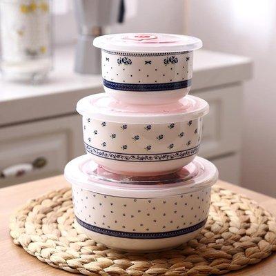 商品折扣中 微波爐碗帶蓋泡面碗陶瓷保鮮碗三件套 陶瓷碗家用飯盒套裝便當盒