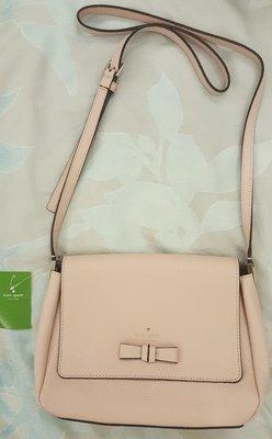 正品kate spade粉色蝴蝶結斜背皮革包