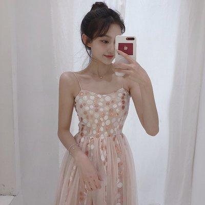 時尚女裙  新款夏季復古風無袖氣質吊帶裙子中長裙高腰性感亮片連衣裙女