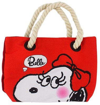 【卡漫迷】 貝兒 帆布 手提袋 紅 小 ㊣版 麻繩 史努比 史奴比 Snoopy 外出袋 餐袋 便當袋 Belle