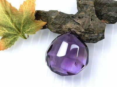 □§Disk的天然水晶§□【稀有珍藏】寶石級紫水晶冰塊圓水滴切面墜GL-04~全館滿千9折+超取免運