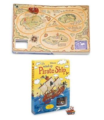 海盜船航海軌道車遊戲書~ Wind-up pirate ship +1台海盜船