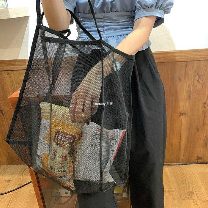 beauty衣櫥 2020潮新款INS風超夯單肩包透明網紗大容量挎包百搭輕便百搭購物袋