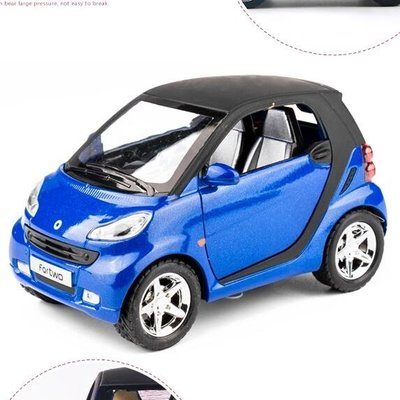 模型車 奔馳smart車模兒童合金玩具車小汽車模型仿真男孩回力車小車警車   全館免運