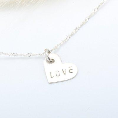 【客製】 掛念的愛心 敲字 刻字 英文 數字 s925 純銀項鍊