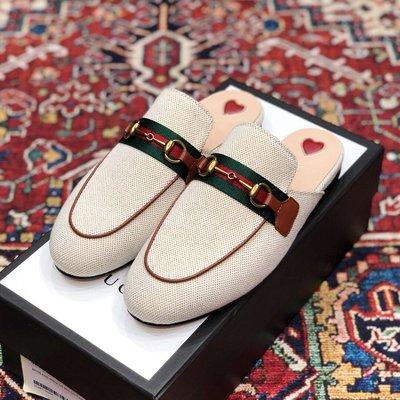【BLACK A】精品GG princetown canvas slipper 帆布穆勒鞋拖鞋 咖啡色/紅色/綠色