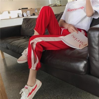ulzzang運動褲女春秋學生韓版寬鬆百搭原宿bfhiphop嘻哈褲子