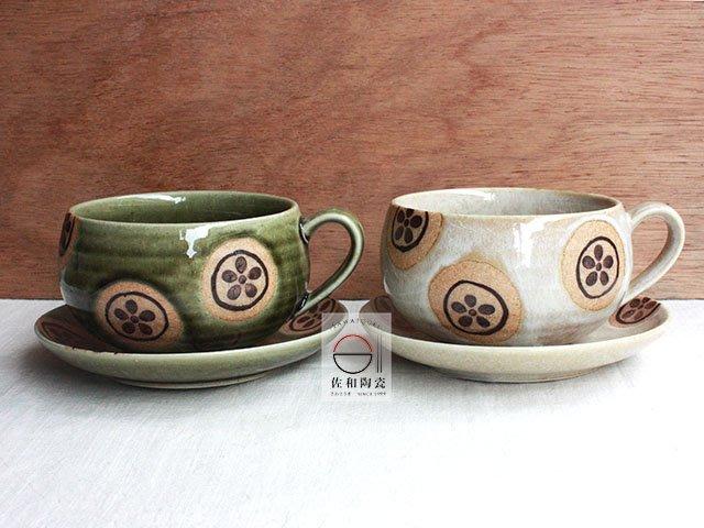 +佐和陶瓷餐具批發+【XL070918-4A.B 花丸紋咖啡杯組-日本製】日本製 咖啡店器具 咖啡杯 食器 陶器