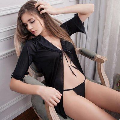 迷醉黑五分袖柔緞二件式 加大,性感,情趣,內衣,睡衣,性愛,愛愛,角色扮演,誘惑,18禁,聖誕節,情人節,禮物,法莉絲