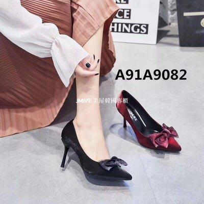 JMW集美屋韓國專櫃2019春季新款南王細跟高跟尖頭淺口女單鞋官方網正品9082