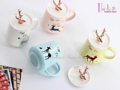 ☆[Hankaro]☆ 新款創意陶瓷鹿角杯蓋馬克杯