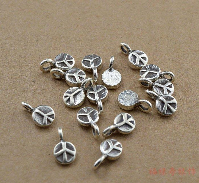 蠟媽銀坊-925純銀泰國手工銀6mm和平標誌小吊飾