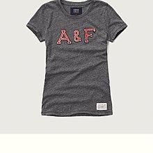 Maple麋鹿小舖 Abercrombie&Fitch * AF 女生灰色電繡字母短T *( 現貨S號 )