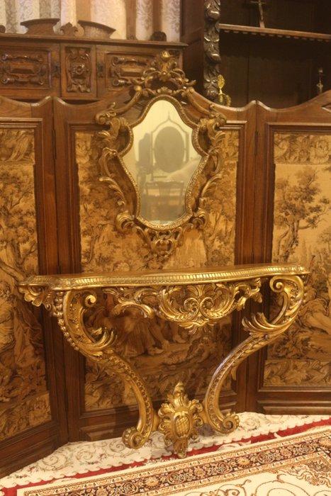 【家與收藏】極品稀有珍藏歐洲百年古董法國路易十五風格凡爾賽華麗巴洛克手工木雕花玄關桌鏡