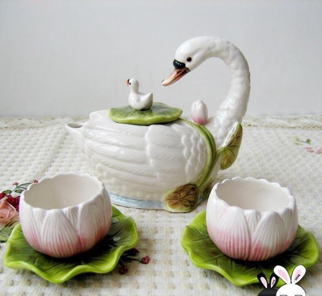 粉紅玫瑰精品屋~荷塘&天鵝 菡萏初放 茶具3件套~現貨+預購