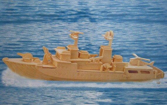 *小貝比的家*驅逐艦組合~手工DIY木製立體組合模型
