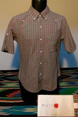 九成新日本製MARKA BD CHECK SHIRTS 春夏休閒款紅綠格紋短袖襯衫 2號 S 可折捲袖管 保證正品
