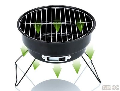 【起點3C】燒烤爐-迷你野外折疊便攜燒烤爐 木炭燒烤架 家用圓形小號烤肉爐子烤面筋QD8860