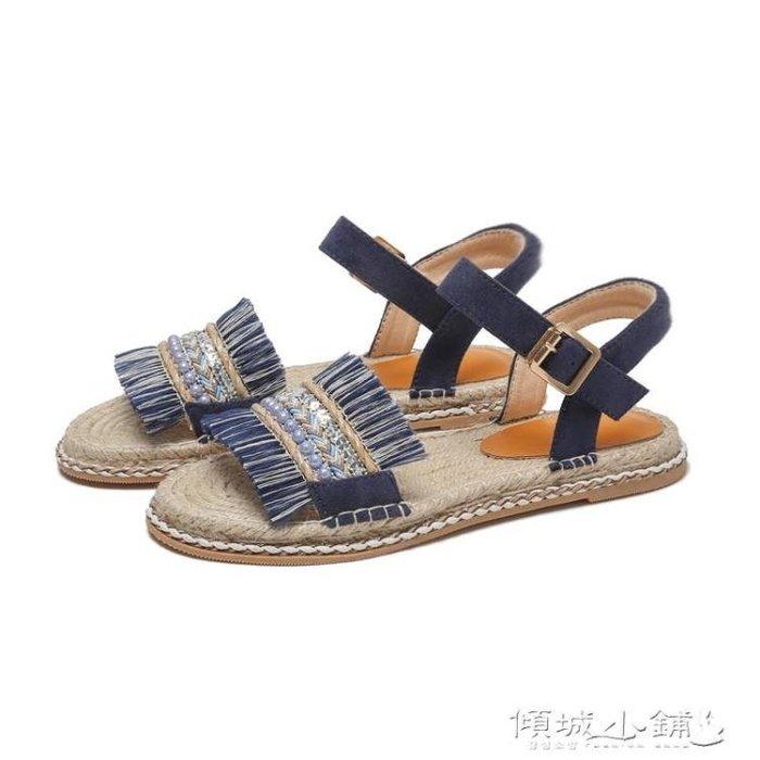 波希米亞涼鞋 西米亞涼鞋女平底露趾一字扣帶串珠