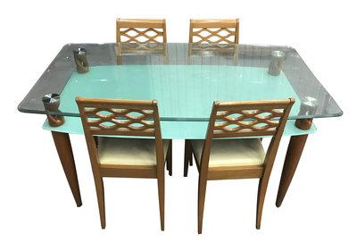 【宏品二手家具館】台中全新2手中古傢俱拍賣 E30901*玻璃餐桌+4椅*辦公桌 沙發 衣櫥 洗衣機新竹苗栗桃園彰化南投