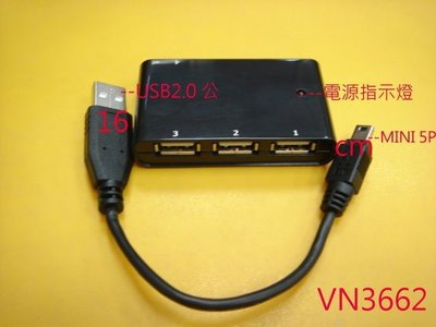 【全冠】USB2.0 4 PORT Mini HUB 5V2.6A 1轉4USB擴充槽USB擴充器 集線器(VN3662 台南市