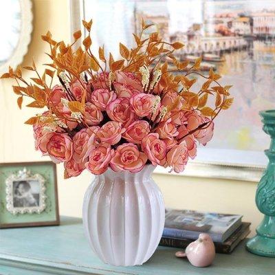 仿真盆栽 仿真花玫瑰花束歐式絹花套裝客廳餐桌擺件塑料假花干花花瓶擺設