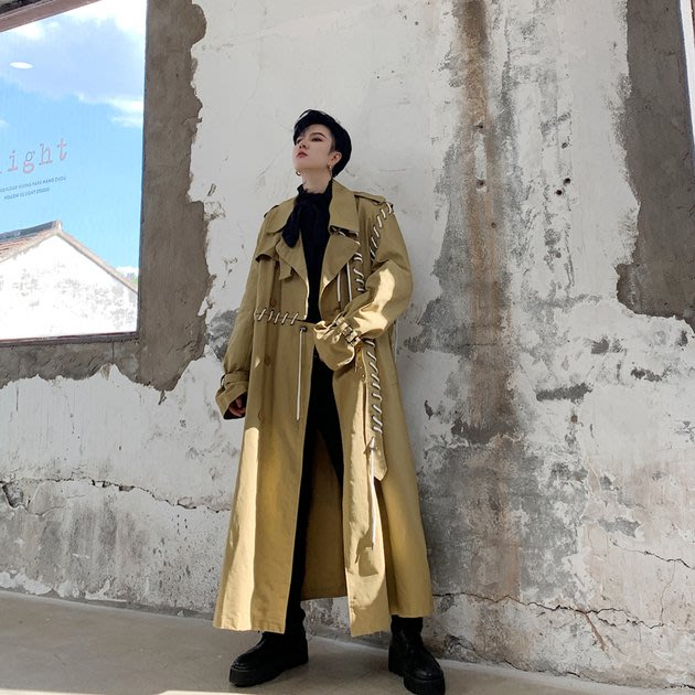 FINDSENSE 2019 秋冬上新 G19  暗黑潮流先鋒個性穿繩拼接結構黑色中長款風衣男裝百搭寬鬆休閒外套