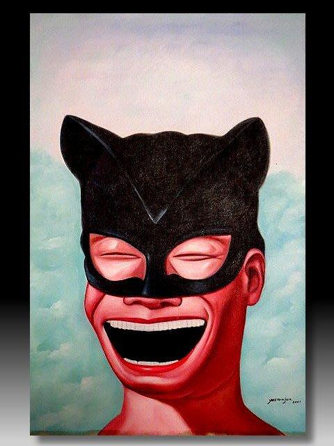【 金王記拍寶網 】U1239  九O年代當代亞洲藝術家 岳敏君款 手繪油畫一張 ~ 罕見系列作品 稀少 藝術無價~