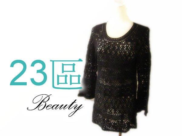 *Beauty*日本23區黑色洞花長版長袖針織衫 40號 IR