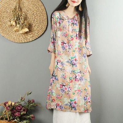 棉麻洋裝連身裙正韓版中式復古盤扣棉麻連...