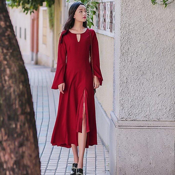 復古 連身裙 甜美 印花 長袖洋裝 實拍春裝原創設計文藝復古波爾多酒紅色圓領連衣裙長裙女