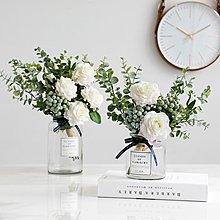 〖洋碼頭〗北歐假花仿真玫瑰花束客廳餐桌擺設花裝飾花尤加利葉仿真花束擺件 ybj349