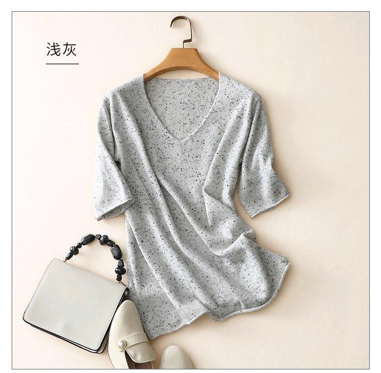 米蘭時尚風情 新品特歐美點子紗V領薄款山羊絨CASHMERE針織衫上衣3色