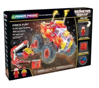 正版授權 LASER PEGS 極光積木 - 聲光紅怪獸卡車 生日禮物